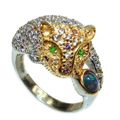 Panthere Emerald Black Opal .925 Sterling Silver handcrafted Statement Ring size 9