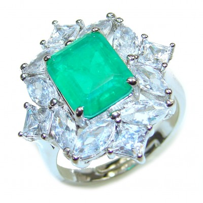 Spectacular 8.2 ctw Emerald White Topaz .925 Sterling Silver handmade Ring size 7 1/4