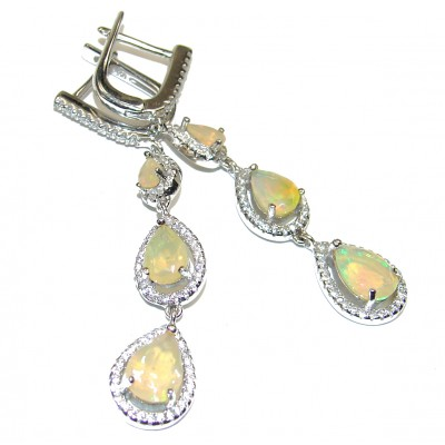 Vintage Style Authentic Ethiopian Fire Opal .925 Sterling Silver handcrafted earrings