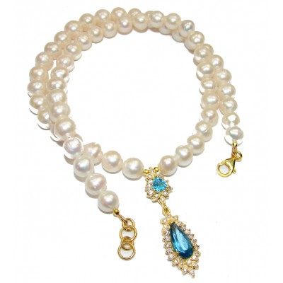 Tsarist heirloom Pearl & London Blue Topaz 14K Gold over .925 Sterling Silver handmade Necklace