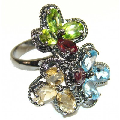 Incredible quality Garnet .925 Sterling Silver handcrafted Statement Ring size 8