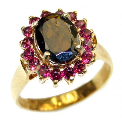 Authentic Garnet gold over .925 Sterling Silver handmade Ring s. 8 1/4