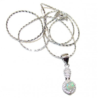 Awesome Natural Ethiopian Opal .925 Sterling Silver Necklace