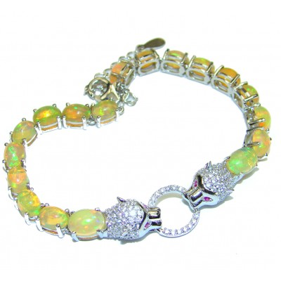 Precious Panthers Ethiopian Opal .925 Sterling Silver Tennis Bracelet