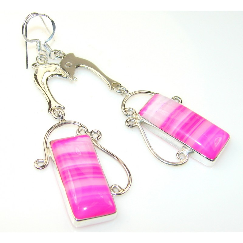 Happy Delphines Pink Agate Sterling Silver earrings
