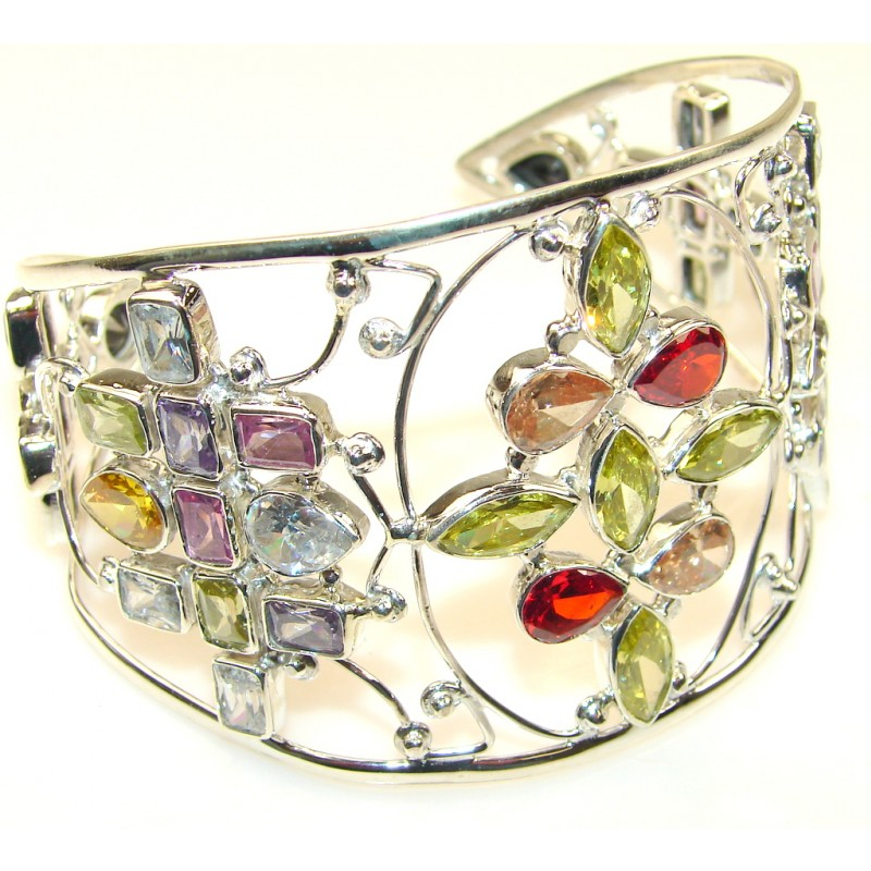 Illusion Floral Lab. Created Multigem Sterling Silver Bracelet /Cuff