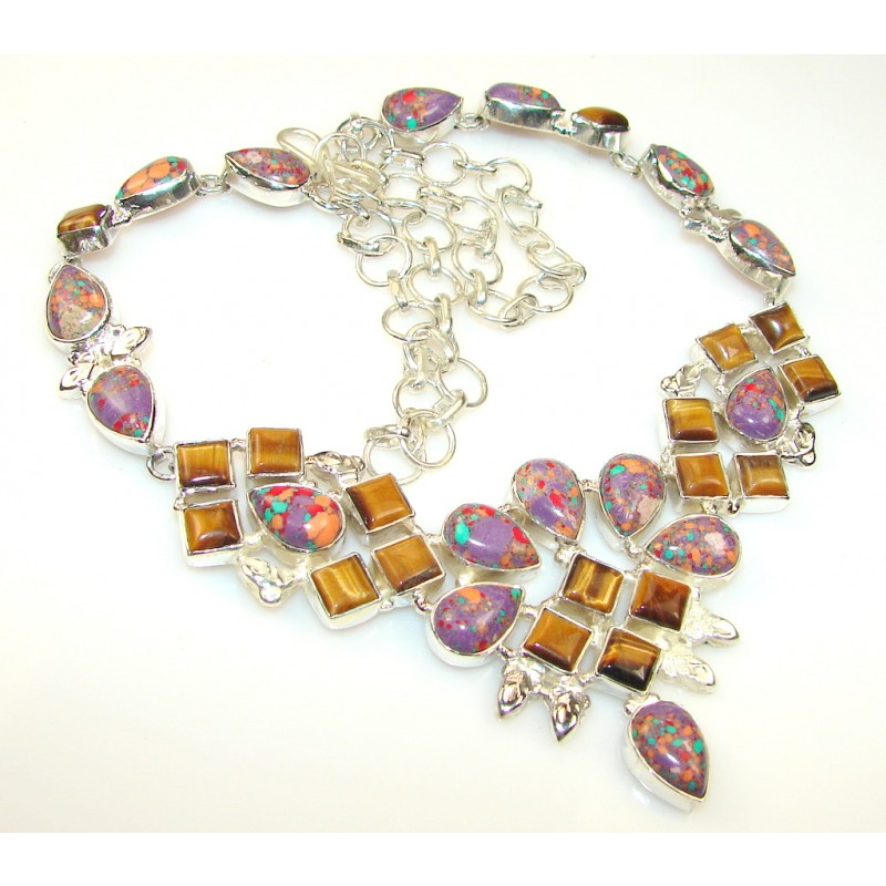 Outstanding Mosoic Jasper Sterling Silver necklace