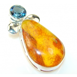 Sweet Polish Amber Sterling Silver Pendant