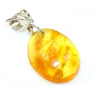 Simple Polish Amber Sterling Silver Pendant