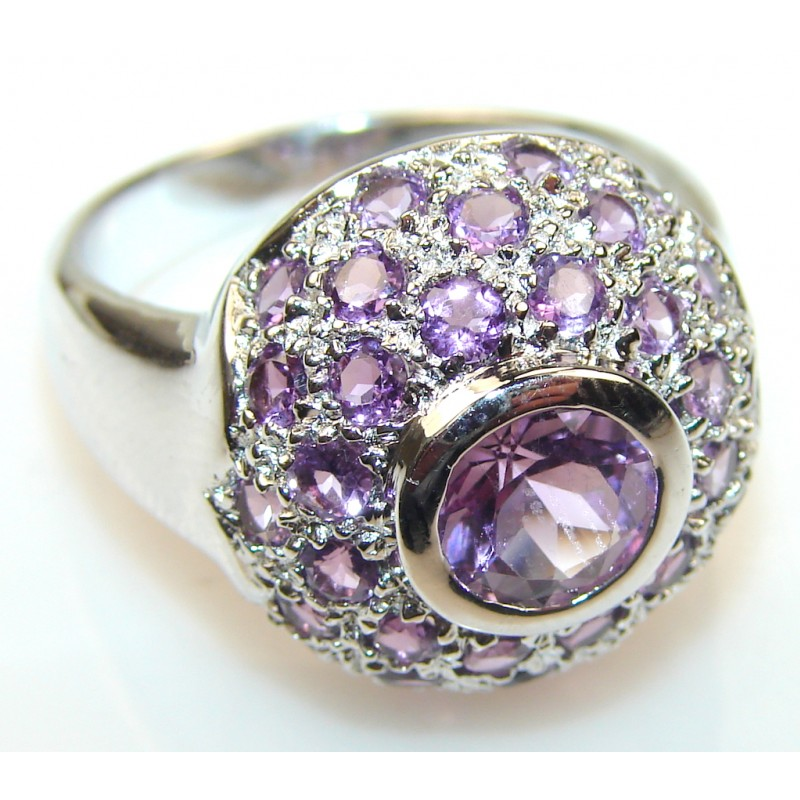 Excellent Amethyst Sterling Silver ring s. 8 3/4