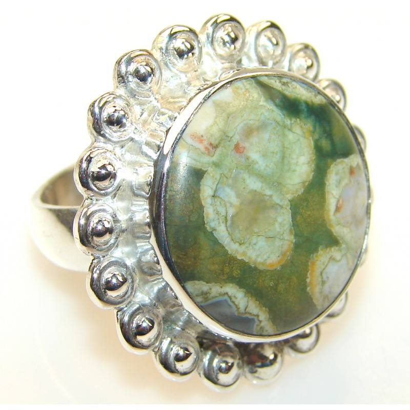 Secret Rainforest Jasper Sterling Silver Ring s. 8 1/2