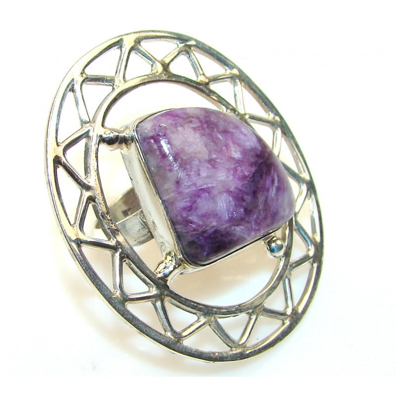 Fabulous Charoite Sterling Silver ring s. 7 1/2