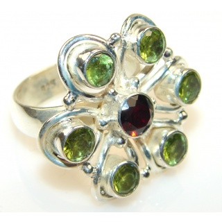 Grown Jewel Garnet Quartz Sterling Silver Ring s. 8 3/4