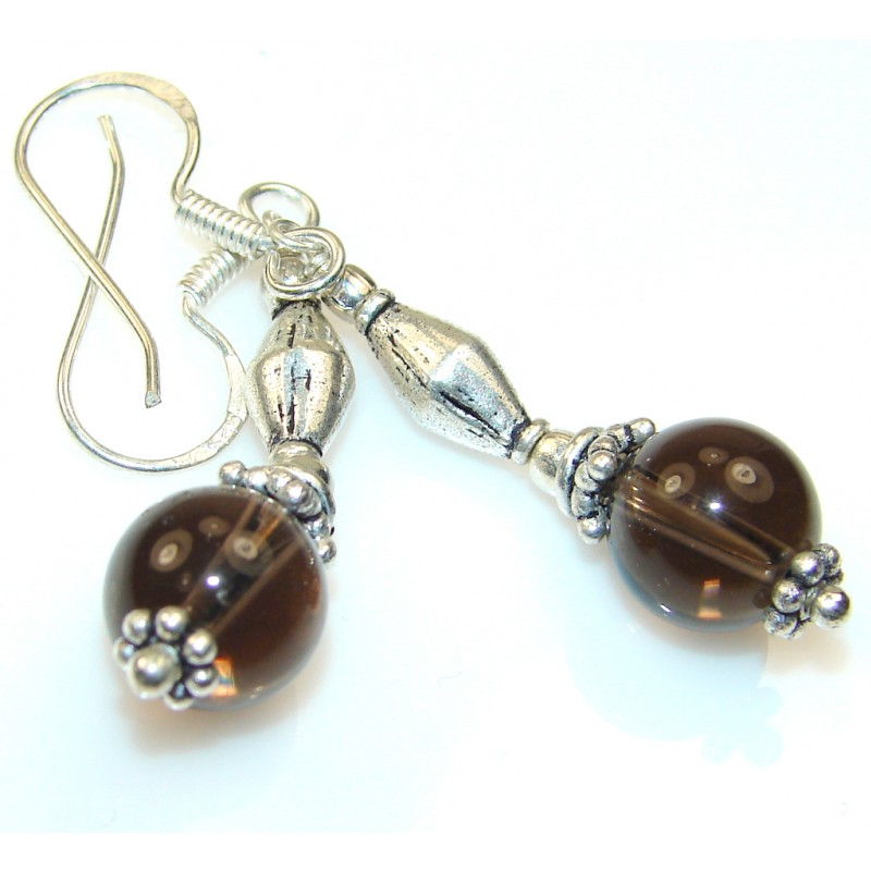 Hypnotic Moon Brown Quartz Sterling Silver earrings