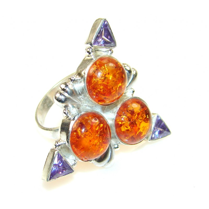 Trendy Polish Amber Sterling Silver Ring s. 9