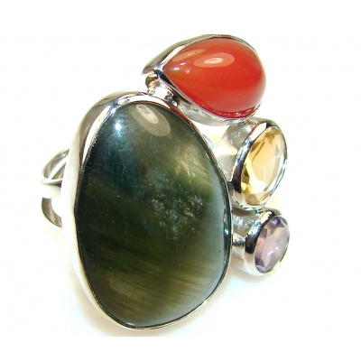 Design Color Of Moss Prehnite Sterling Silver Ring s. 8 & up