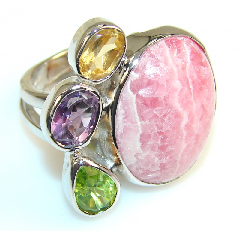 Natural Beauty Rhodochrosite Sterling Silver ring s. 8 & up