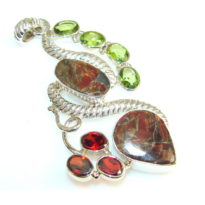 SweetHeart Ammolite Fossil Sterling Silver Pendant