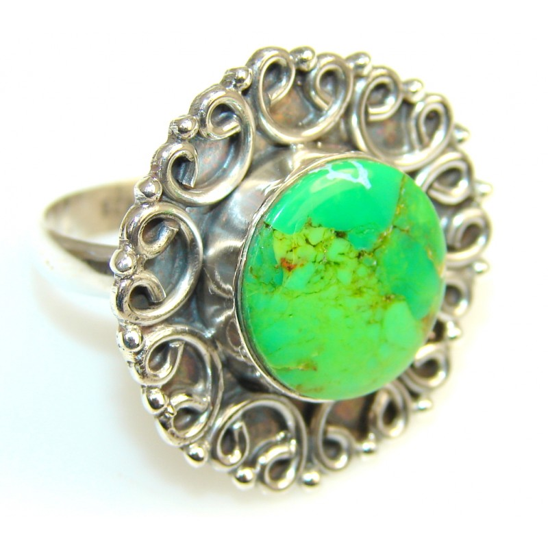 Fantastic Turquoise Sterling Silver Ring s. 11 1/2