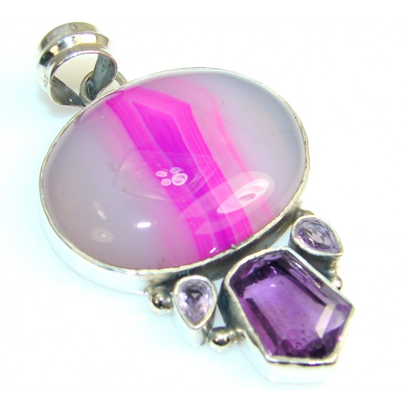 Passion Pink Agate Sterling Silver Pendant