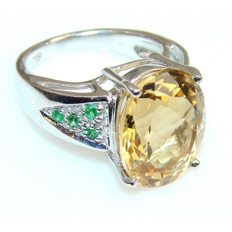 Natural Citrine Sterling Silver ring s. 6 1/2