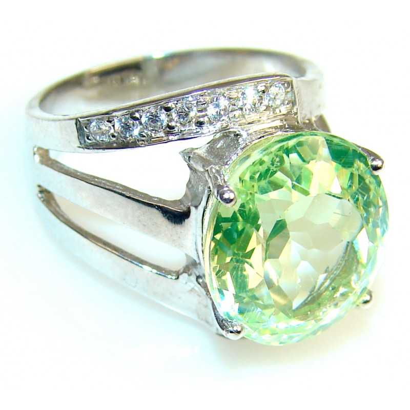 My Sweet Created Peridot Quartz Sterling Silver ring s. 7