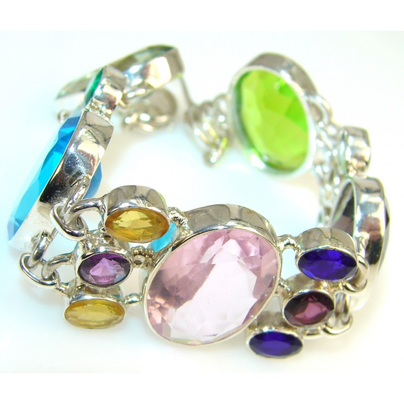 Aura Of Beauty Multicolor Quartz Sterling Silver Bracelet
