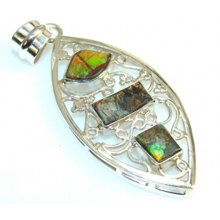 Excellent Ammolite Fossil Sterling Silver Pendant