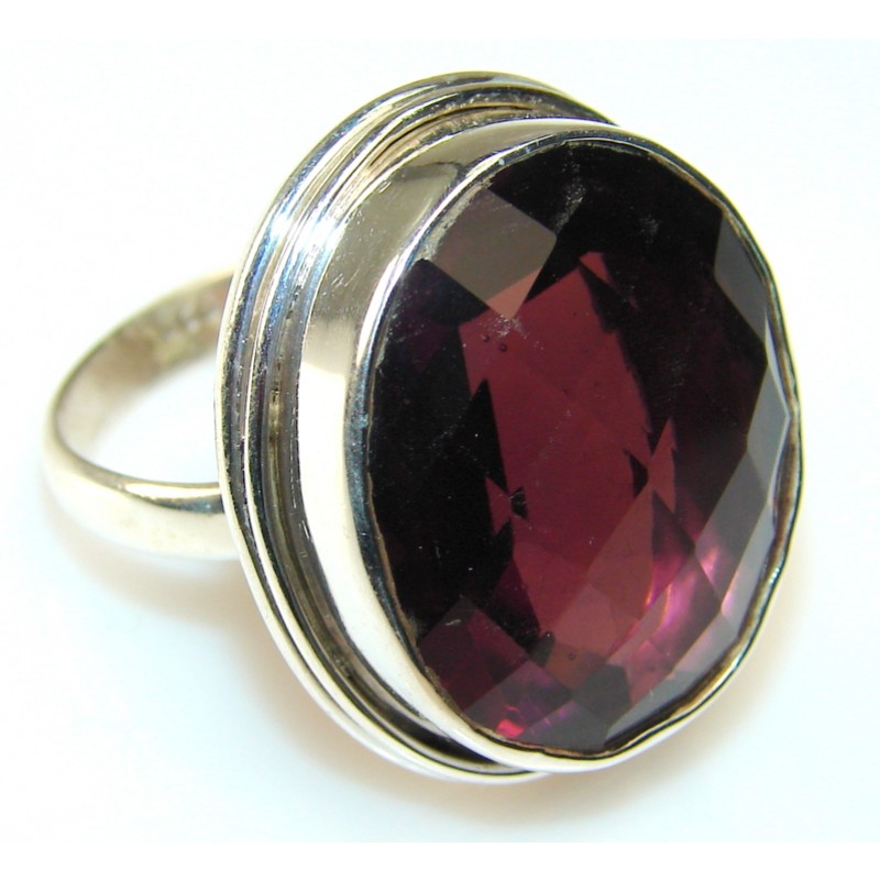 Precious Color Of Raspberry Quartz Sterling Silver Ring s. 11