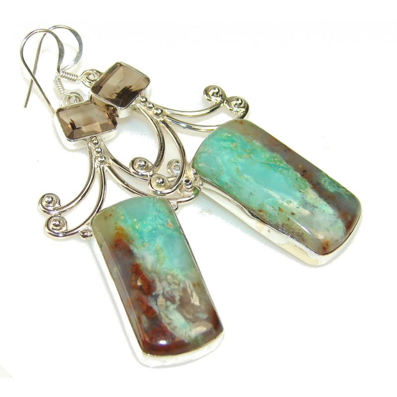 Secret Green Chrysoprase Sterling Silver earrings