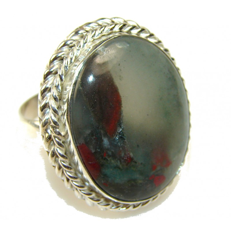 Classy!! Moss Agate Sterling Silver ring s. 11 1/2