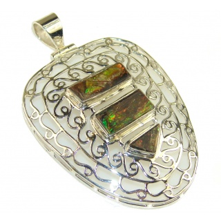 Fabulous Ammolite Fossil Sterling Silver Pendant