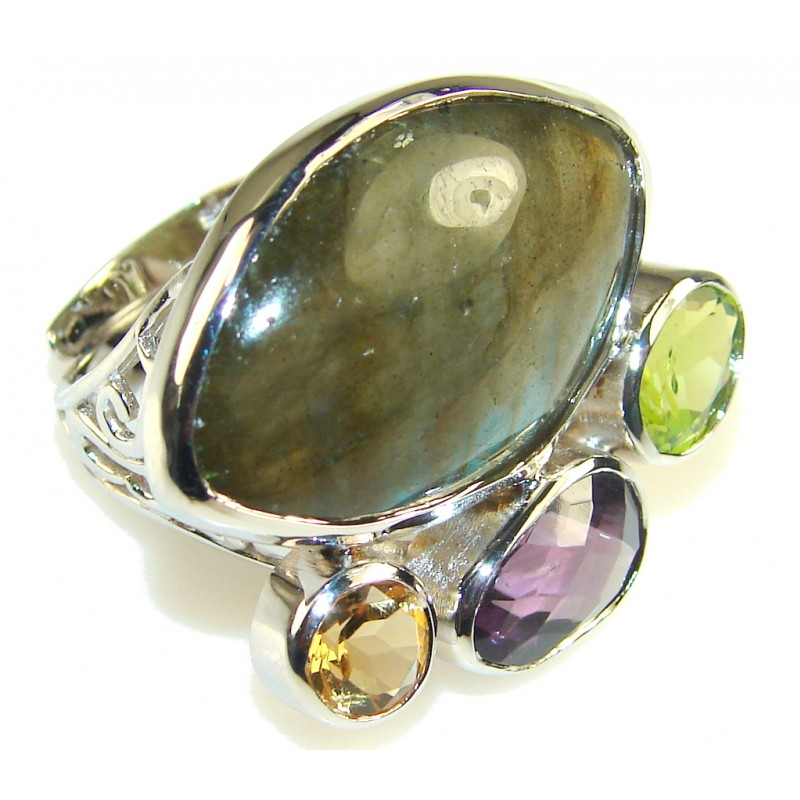 Excellent Green Labradorite Sterling Silver Ring s. 7 & up