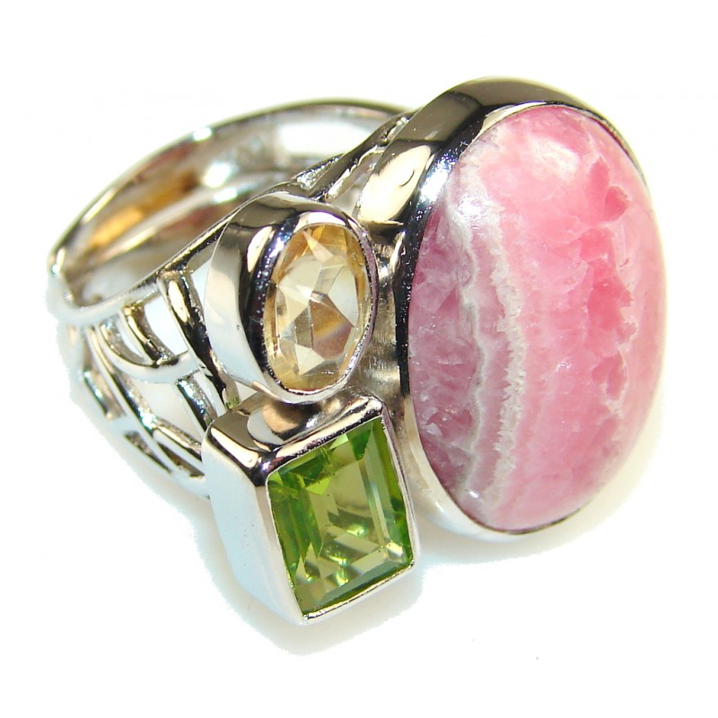 Beautiful Rhodochrosite Sterling Silver ring s. 6 & up