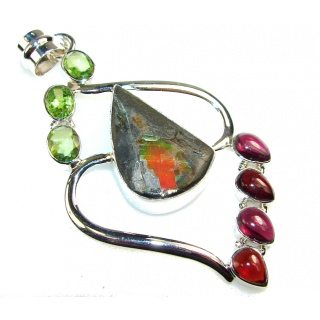 Mystries Ammolite Fossil Sterling Silver Pendant