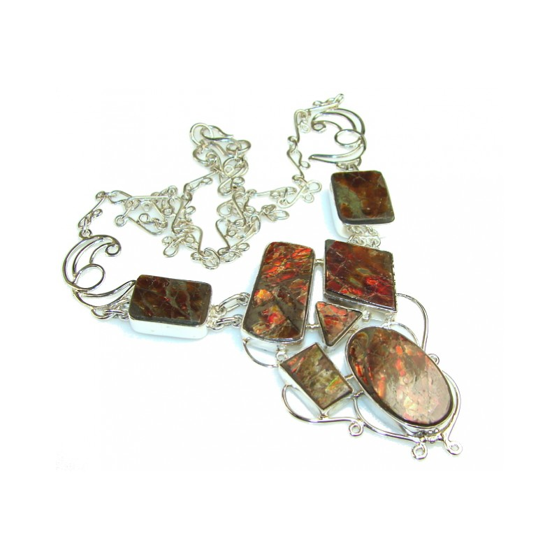 Natural Beauty Ammolite Sterling Silver necklace