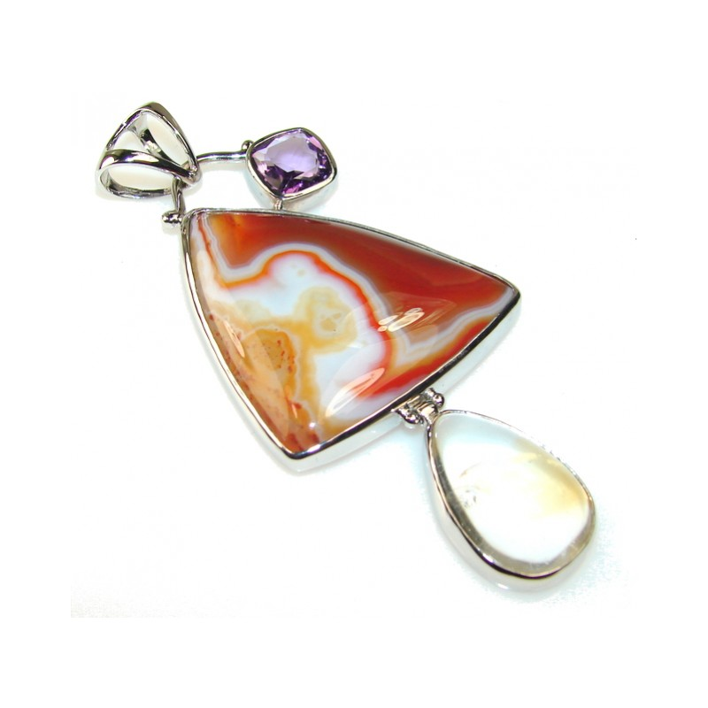 Big!! Spring Garland Agate Sterling Silver Pendant