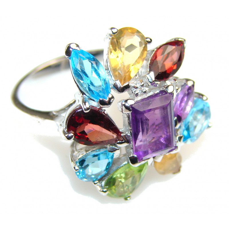 Excellent Multicolor Quartz Sterling Silver Ring s. 8 1/2