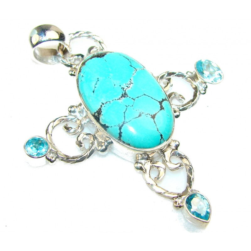 Excellent Turquoise Sterling Silver Pendant