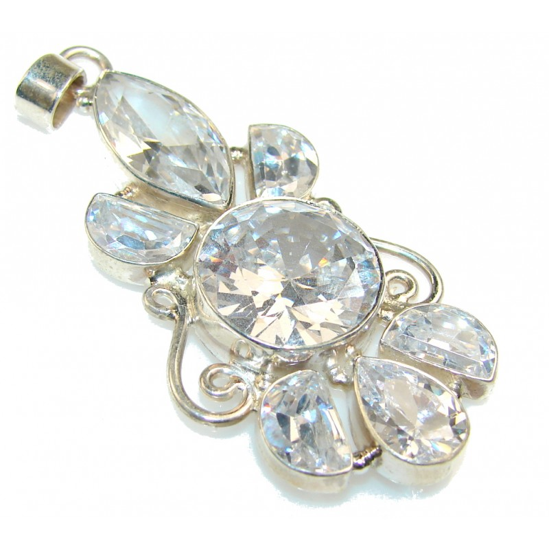 Excellent White Topaz Sterling Silver Pendant
