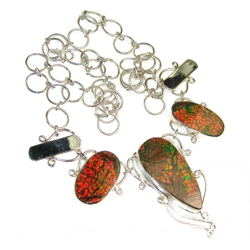 Promise Of Love!! Ammolite Sterling Silver necklace