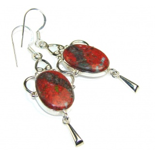 Precious Red Sonora Jasper Sterling Silver earrings