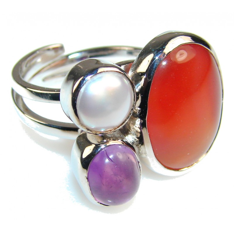Traditions Agate Sterling Silver Ring s. 9 - Adjustable