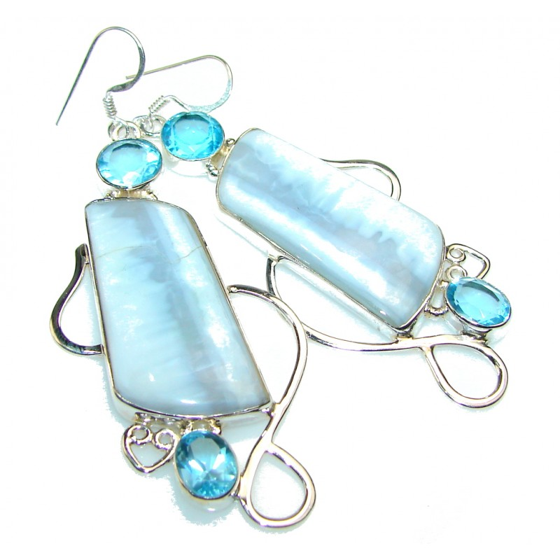Excellent Blue Lace Agate Sterling Silver earrings