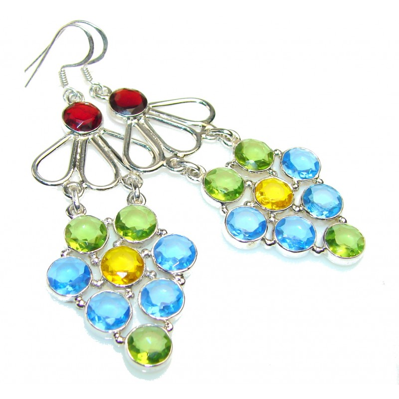 Disco Light!!! Multicolor Quartz Sterling Silver earrings