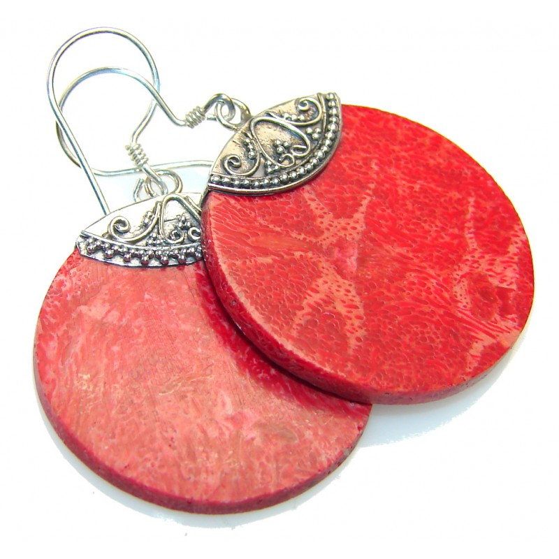 Lovely Fossilized Coral Sterling Silver earrings