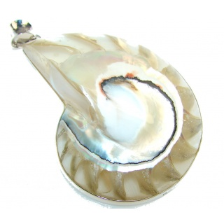 Big!! Special Ocean Shell Sterling Silver Pendant