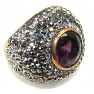 Stylish Amethyst Sterling Silver Ring s. 7 1/4