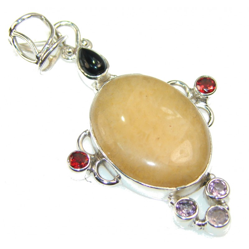 Stylish Honey Calcite Sterling Silver Pendant