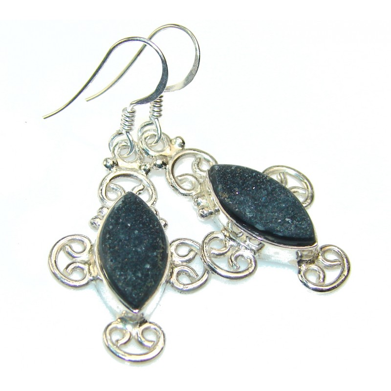 Stylish Titanium Druzy Sterling Silver Earrings